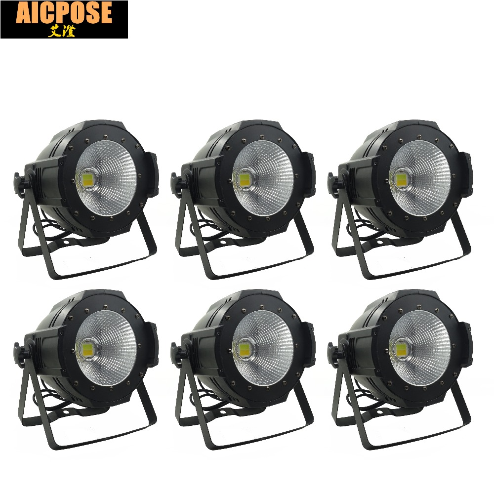 6units LED Par COB Light 100W High Power Aluminium DJ DMX Led Beam Wash Strobe Effect Stage Lighting,Cool White and Warm White freeshipping 4pcs dmx 100w cob warm yellow warm white led dj par light 100 wart dmx512 control mater slave stage lighting effect