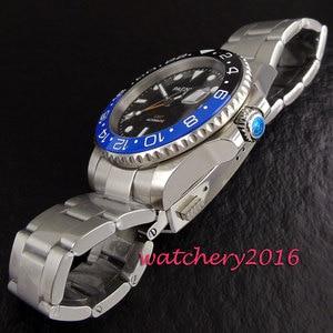 Image 5 - חדש 40mm Parnis שחור חיוג קרמיקה bezel ספיר זכוכית תאריך להתאים GMT אוטומטי תנועת גברים של עסקי שעון