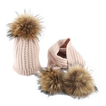 Real Fur Pompom Winter Baby Hat And Scarf set For Children Twist Knitted Cotton Beanie Hat Kids Pom pom Scarf