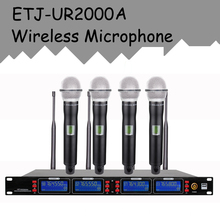 ETJ Model UR2000A Skilled UHF Wi-fi Microphone four Transmitter Handheld Stage Efficiency Wi-fi Microphone System