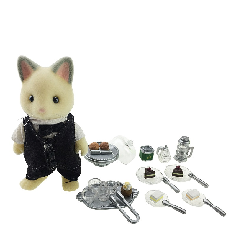 Sylvanian Family cat cooker and dinner set mini animal figure doll furniture toy gift