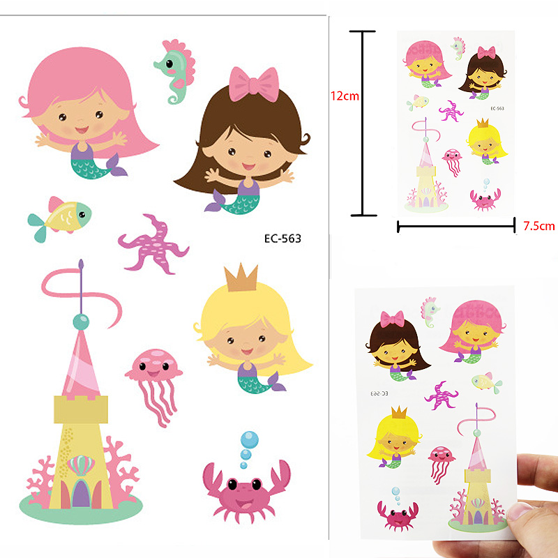 Temporary Tattoos Stickers Children Mermaid Tattoo Stickers Lovely Character Tattoos  Removable Tattoo Stickers