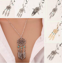 New fashion jewelry dream catcher leather pendant necklace feather bohemian female elegant necklace(China)