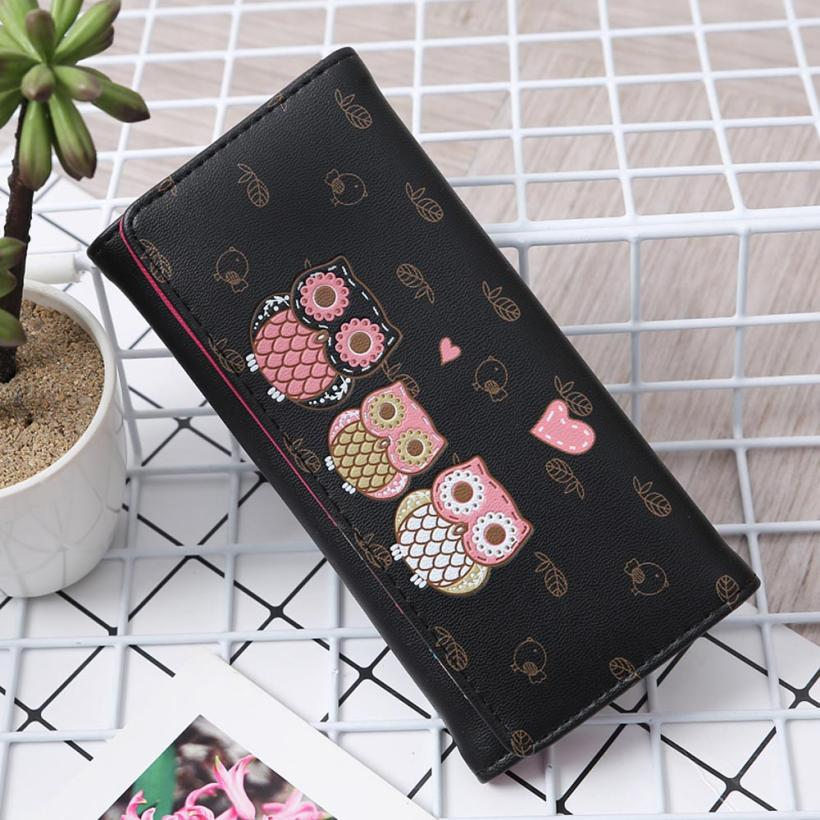 Women Simple Retro Owl Printing Long Wallet Coin Purse Card Holders Handbag wallet female Aug 9 4