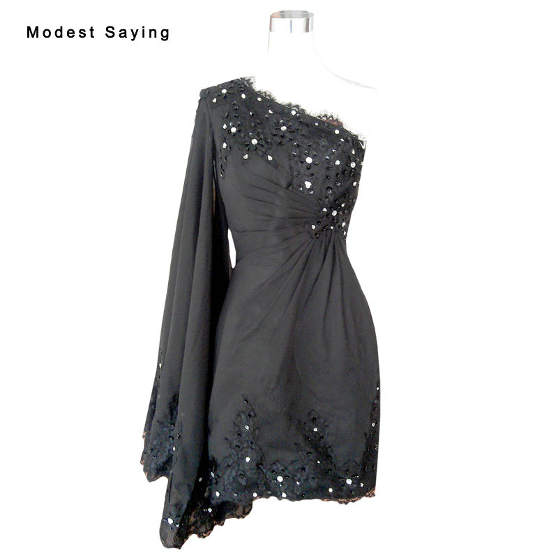 Real Black Elegant Straight One Shoulder Beaded Crystal Lace Short Cocktail Dress 2017 Girls Mini Homecoming Prom Gowns YC8