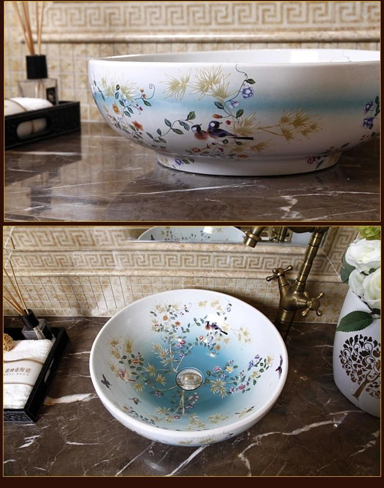 Decorative Bathroom Sinks Aliexpresscom Buy China Painting Bird And Flower Ceramic Sinks