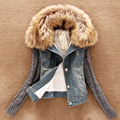 Fashion Faux Fur collar denim cotton coat women vintage sweater spliced plush denim jacket girls winter thick Casual cowboy 6268