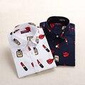 Горячие Продажи Красная Роза Женщины Старинные Блузка рубашка С Длинным Рукавом верхняя одежда Топы И Блузки Плюс Размер Женщин Clothing Blusas Camisa Feminina