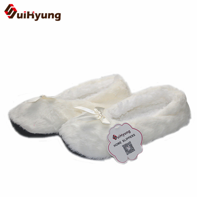Suihyung New Fashion Women Winter Shoes Plush Home Slippers Faux Fur Soft Bottom Bedroom Floor Slippers Female Warm Indoor Shoes