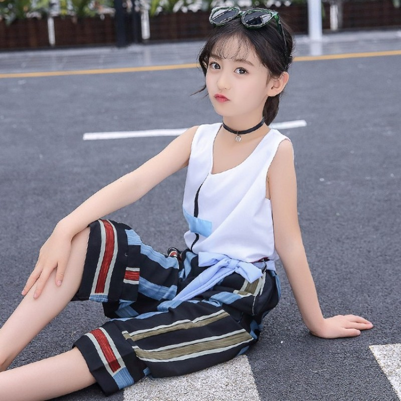 2018 new summer fashion korean style vetement enfant fille casual sarafan chiffon top striped