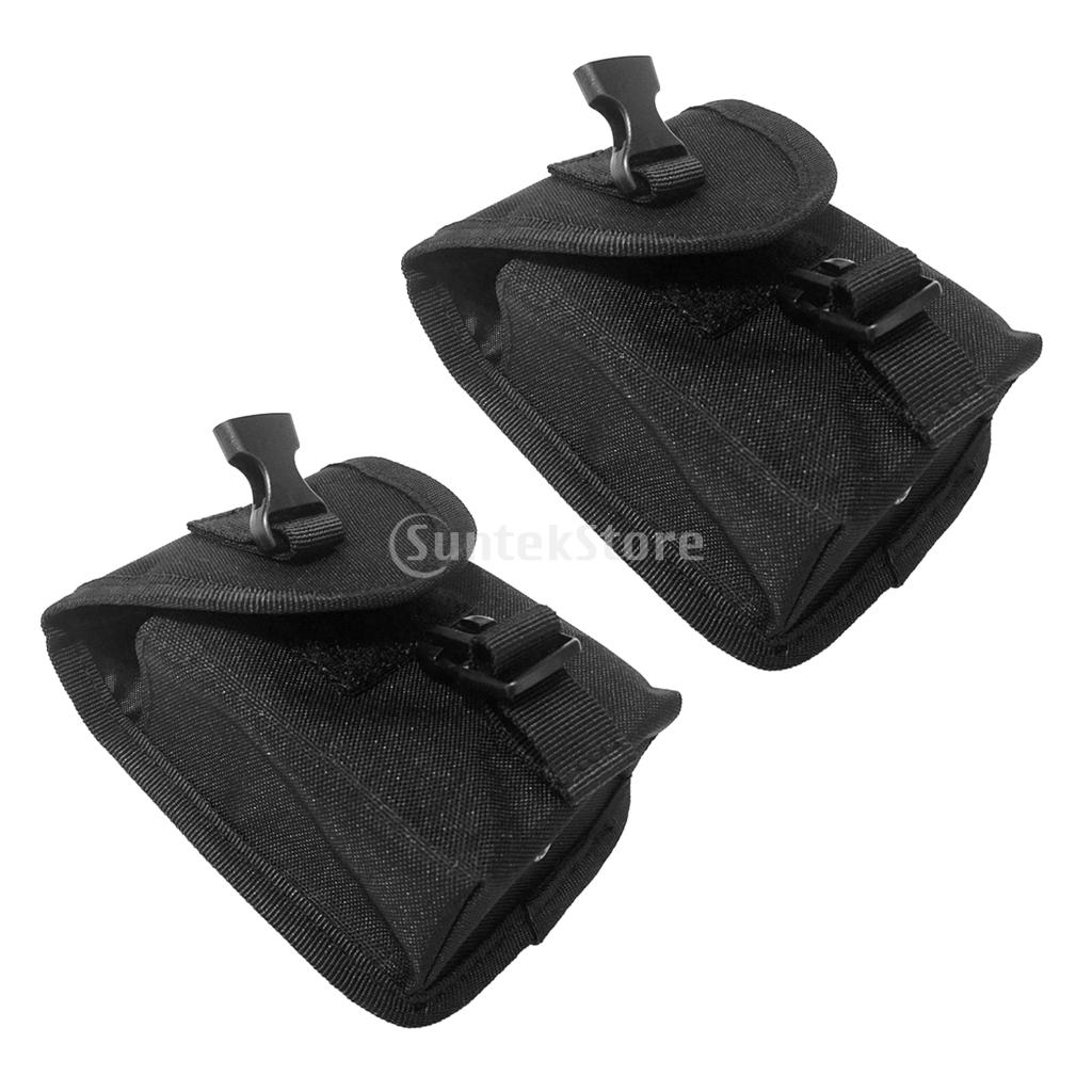 2pcs Spare Black 600D Nylon Scuba Diving Weight Belt Pockets With Quick Release Buckle - 14 X 12cm