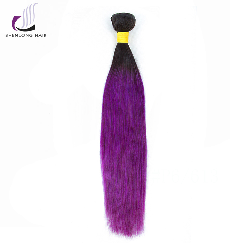 SHENLONG HAIR Peruvian Straight Hair 100g / Stycke 1B-Lila - Mänskligt hår (svart) - Foto 2