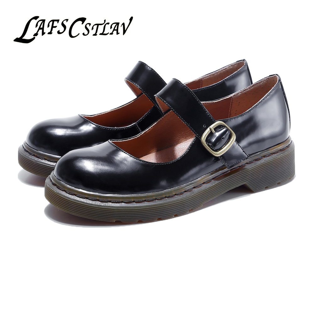 LAFS CSTLAV Genuine Leather Marry Janes Flats Shoes Woman Vintage High Quality Comfortable Casual Brand Fashion Women Shoes Lady top brand high quality genuine leather casual men shoes cow suede comfortable loafers soft breathable shoes men flats warm