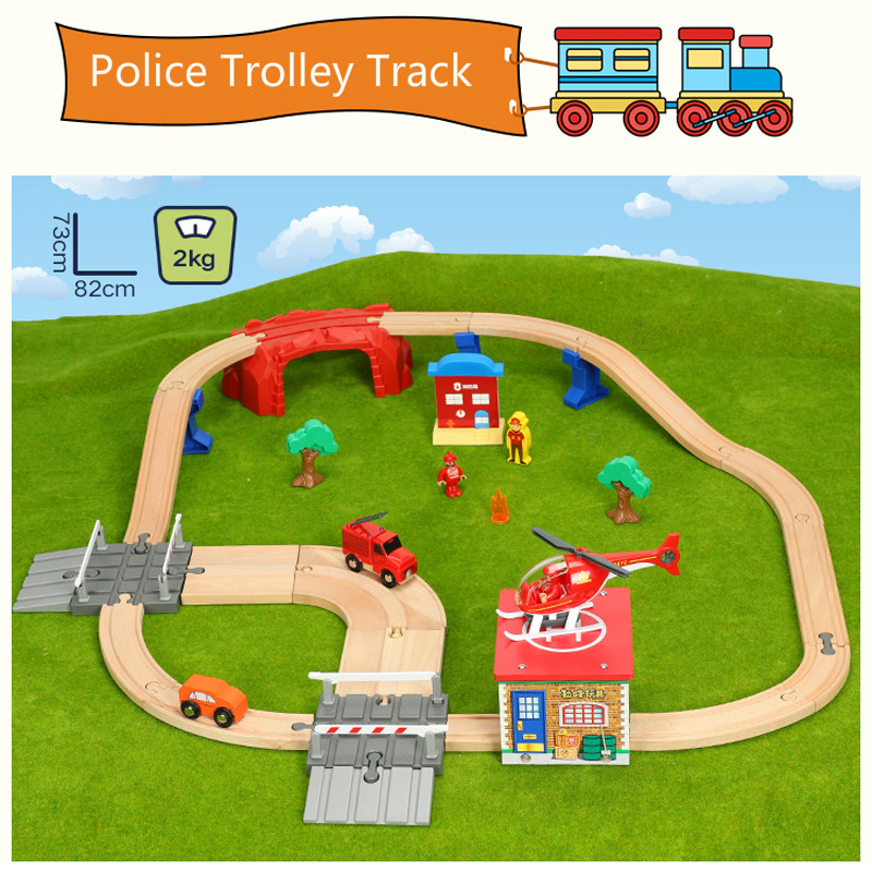 train track toys Fire rescue track game series Kids train toys compatible with Brio wooden tracks Childrens toy car combinationtrain track toys Fire rescue track game series Kids train toys compatible with Brio wooden tracks Childrens toy car combination