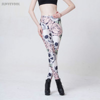 Elastic Leggings Plus Size Sexy Lady S Popular Pink Rose Flower Trousers Skull Printed Pants Women