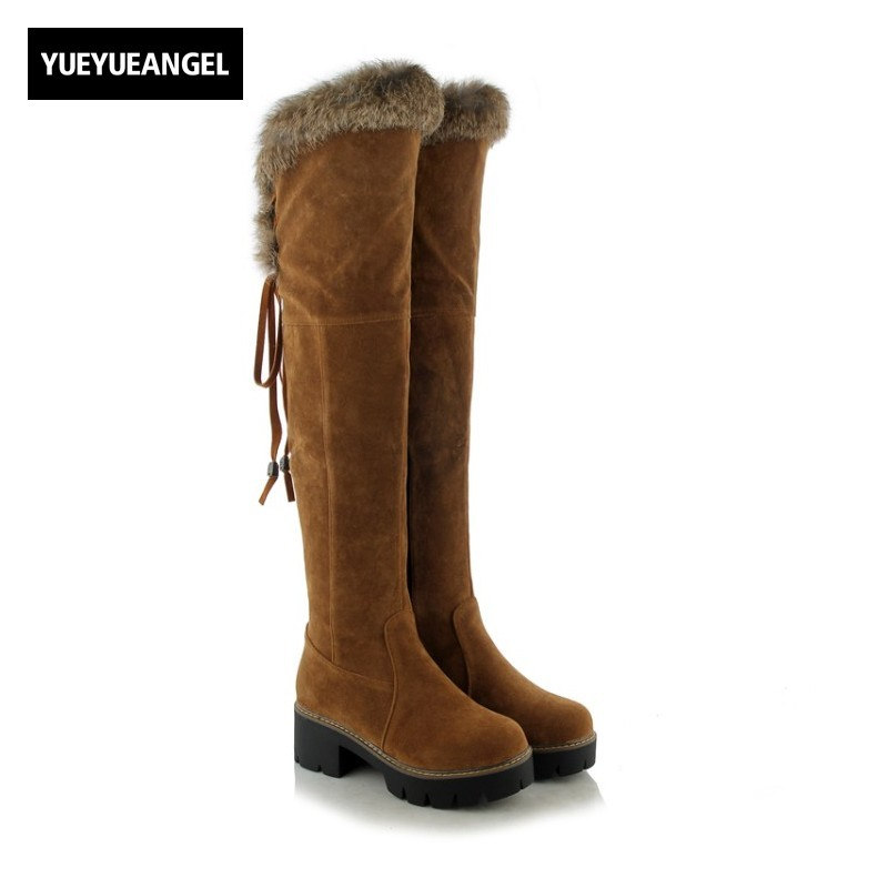 Winter New Arrival Women Shoes Round Toe Side Zipper Faux Suede Over Knee Boots For Women Snow Boots Warm Plush Ladies Yellow 2017 new arrival winter plush genuine leather basic women boots knight zipper round toe low heel knee high boots zy170904