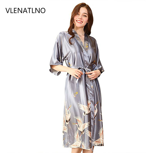 0548c975ff ... Dress Satin Robe Longue  Satin Robes for Brides Wedding Robe Sleepwear  Silk Pijama Casual Bathrobe Animal Rayon Long Nightgown Women ...