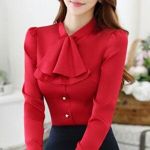Image 3 - Babados gola casual feminina blusa feminina elegante rosa fino ajuste camisa senhoras topos escritório novo estilo moda trabalho wear