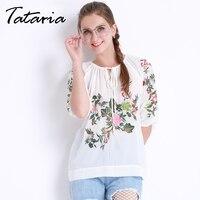 الصيف التطريز الشيفون بلوزة المرأة الأبيض الشيفون قميص فضفاض الدانتيل أعلى blusas أعلى tataria فام ملابس أنيقة الإناث 3768