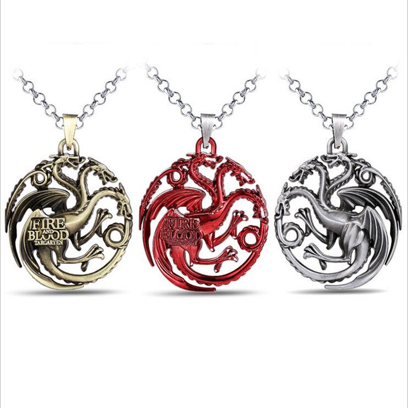 ORP Game of Thrones House Targaryen Family Fire Dragon necklaces A song of lce and fire Logo 3D stereoscopi pendant necklace