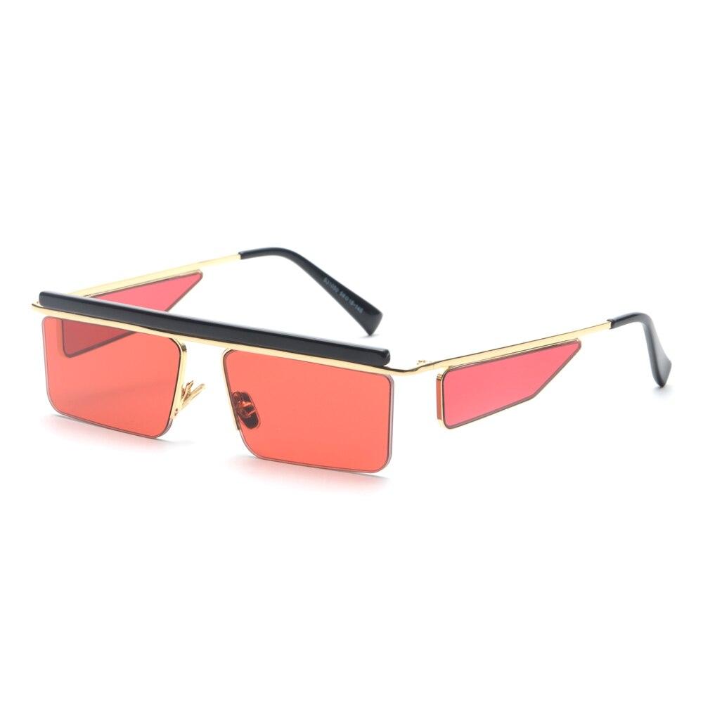 Peekaboo rettangolo nero occhiali da sole da uomo quadrato di estate 2018 in metallo mezza cornice di marrone rosso occhiali da sole di modo per le donne marche di uv400