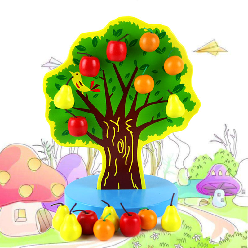Woodens Toys Happy Fruit Tree Magnetisch Montessori Building Blocks Apple Tree Math Pairing Puzzle Baby Educational Toys