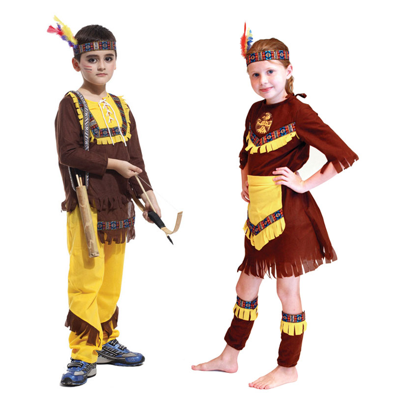 Umorden Purim Karneval Party Halloween Kostüme Kinder American Indian Prince Prinzessin Native Hunter Kostüm Cosplay für Junge Mädchen