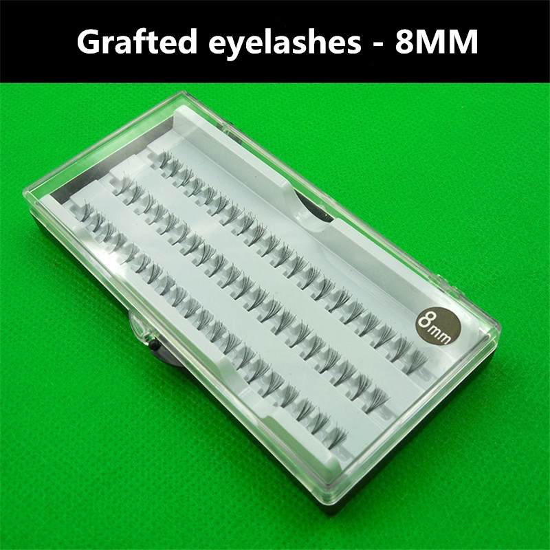 60pcs Natural 3D Clusters Individual Extension False Eye Lashes Planting Grafted False Eyelashes Tufted Bundle 8mm
