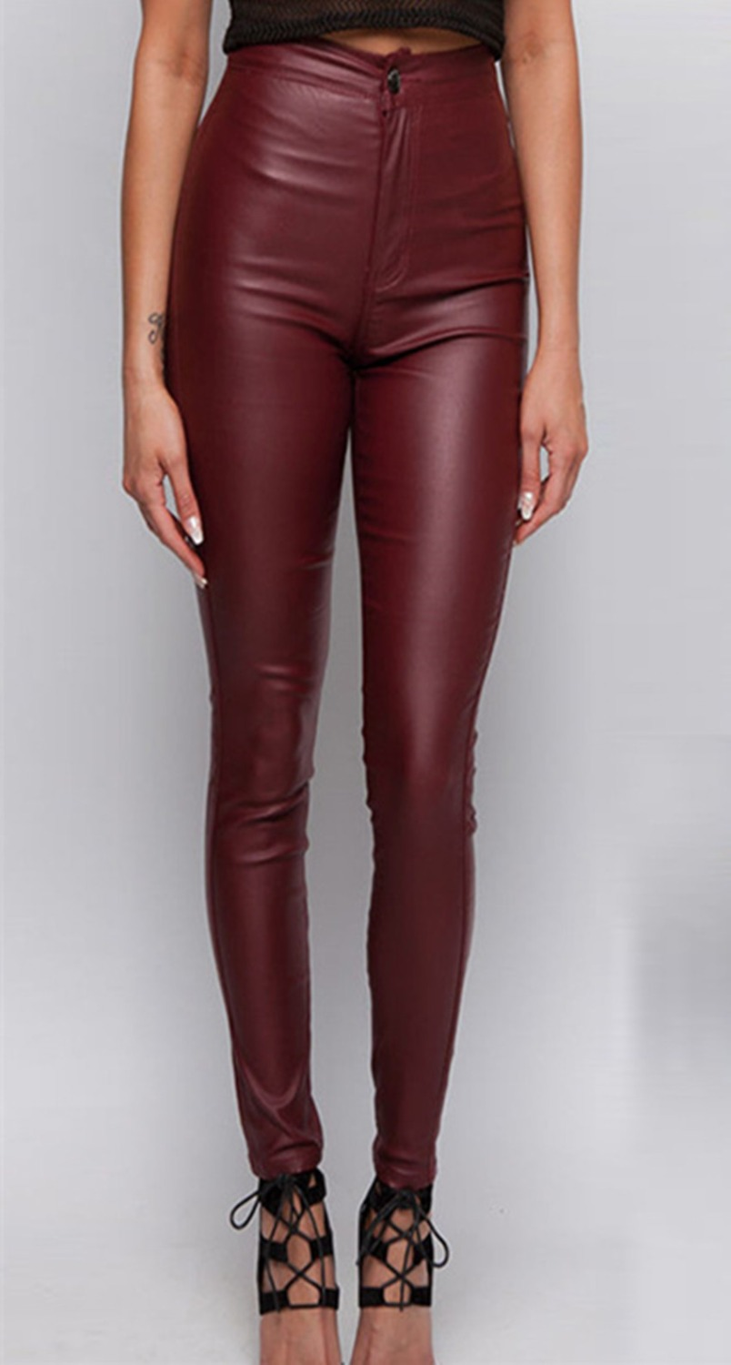b5bec0b4fcf248 High waisted wine red faux leather locomotive jeans plus size tight skinny  leather pants full length fashion slim leather jeans-in Jeans from Women's  ...