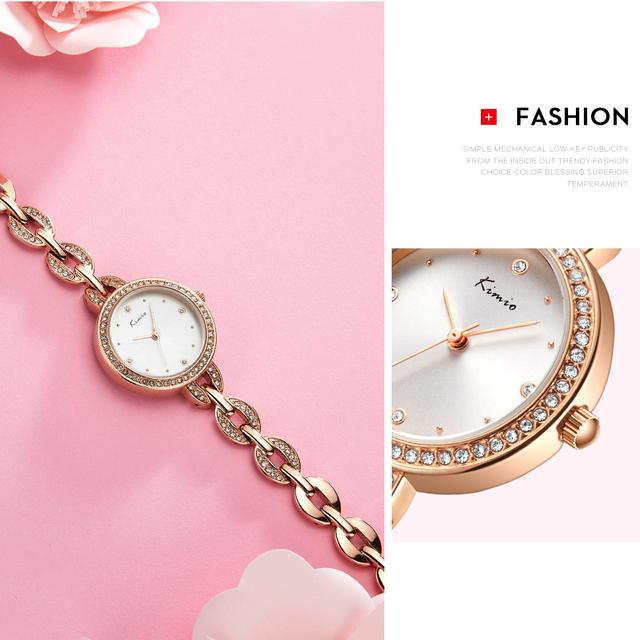 KIMIO Brand Small Dial Women Bracelet Watch 2018 Luxury Diamond Quartz Watches Ladies Crystal Dress Wristwatch Clock reloj mujer