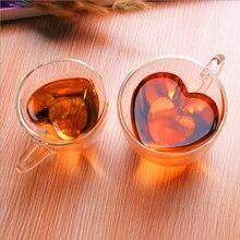 Heart Shaped Heat-Resisting Double Wall Clear Transparent Glass Tea Cup Handmade Mini Coffee Mug Double Layer Glass Mug 1pcs