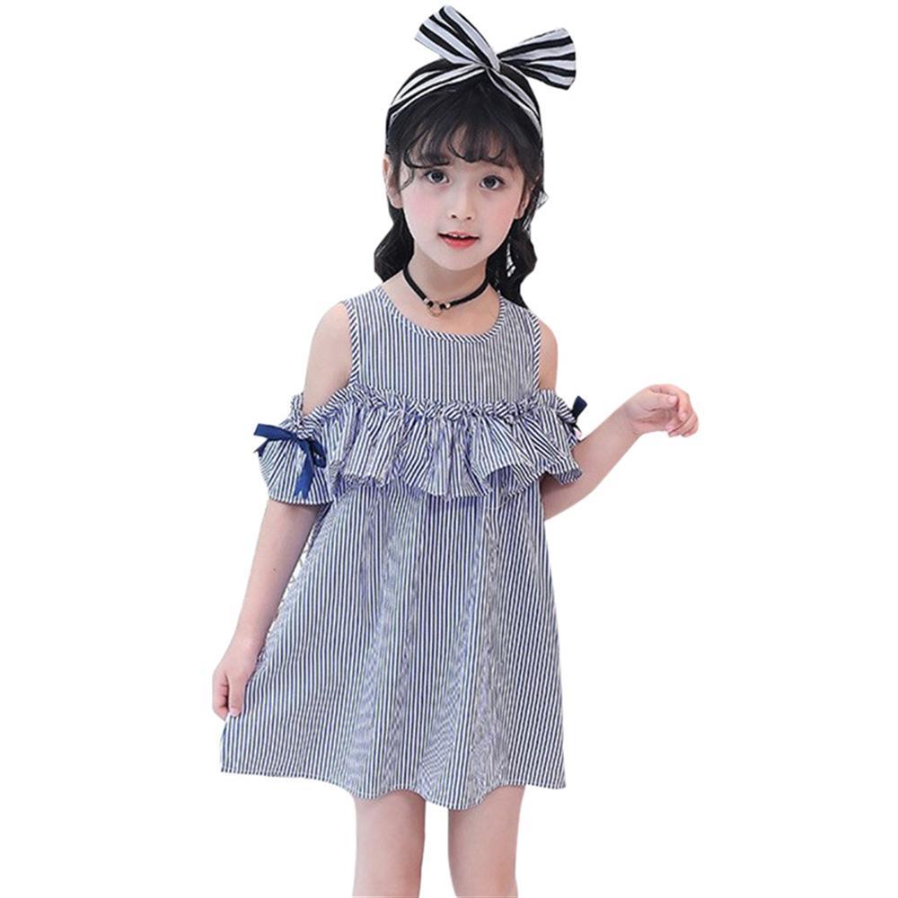 Summer Girls Dress Blue Stripe Off-Shoulder Ruffles Dresses +Headband Korean Style Princess Dress For Girls For 2 3 4 6 8 Years