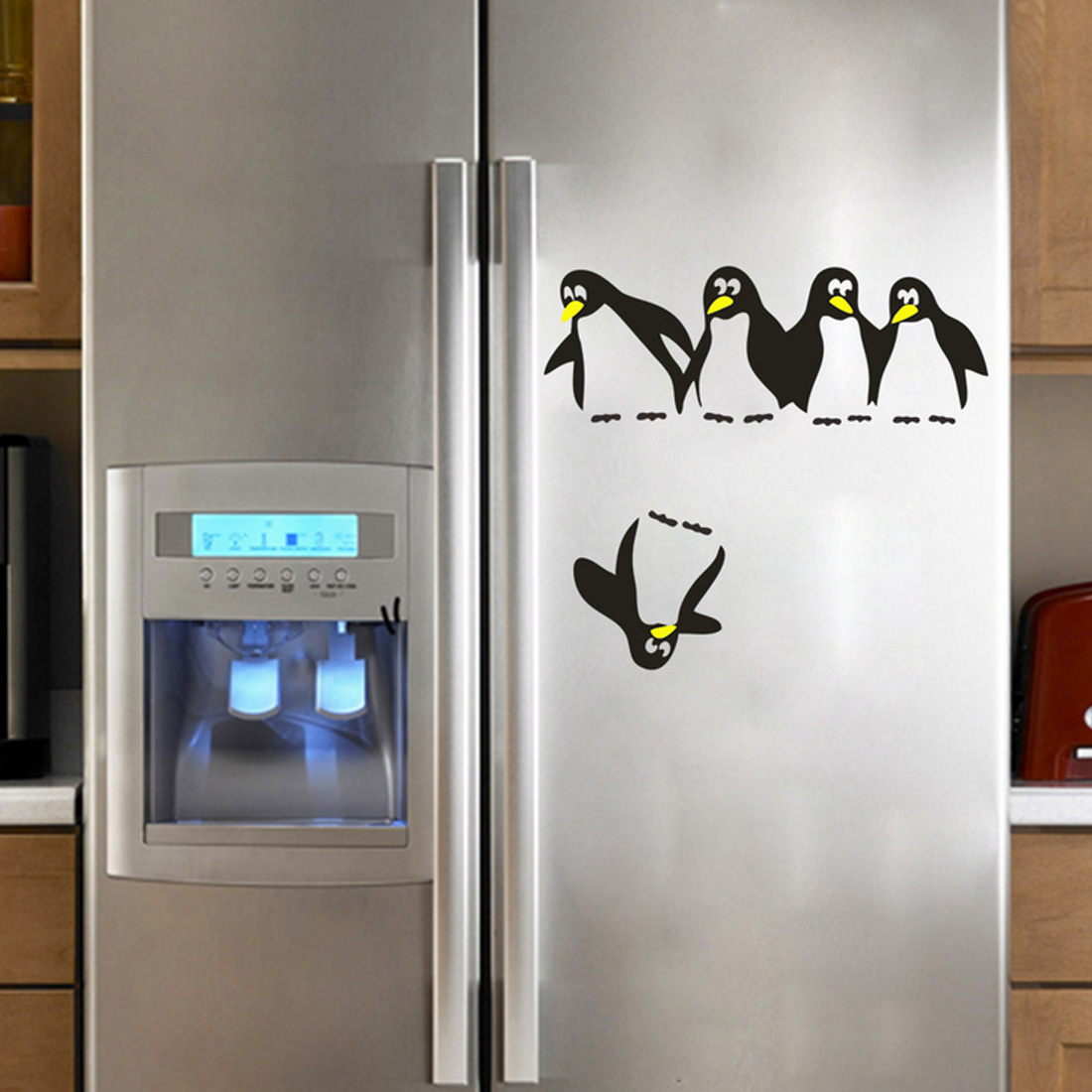 Funny Cute Penguin Kitchen Fridge Sticker DIY Decals Dining Room Kitchen Decorative Wall Stickers Home