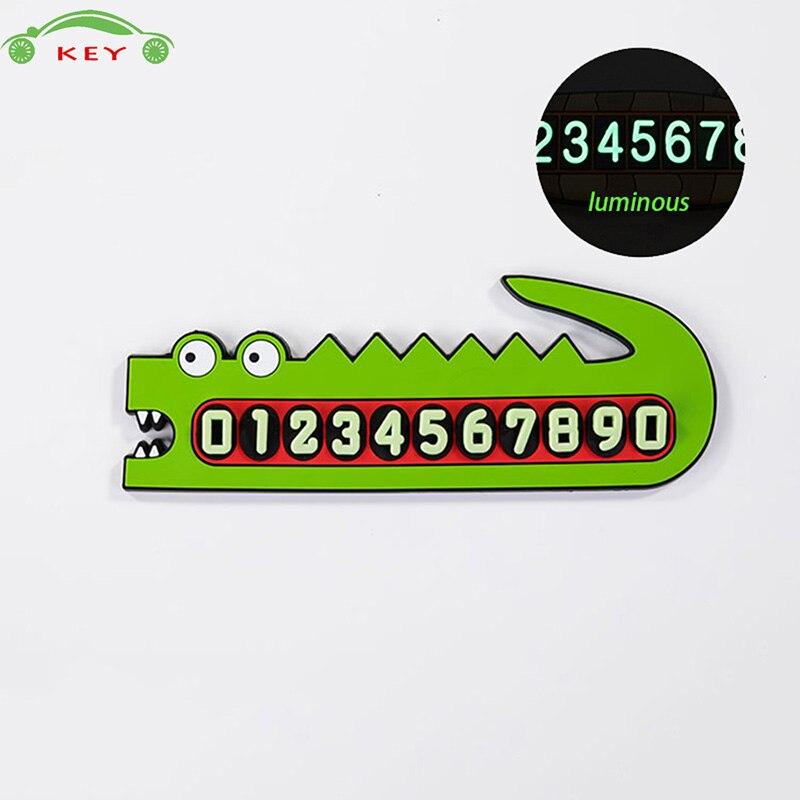 3D Luminous Phone Number Car Parking Card PVC Auto Crocodile Sticker for Mazda BMW Audi Suzuki Toyota Honda Subaru Buick Opel VW
