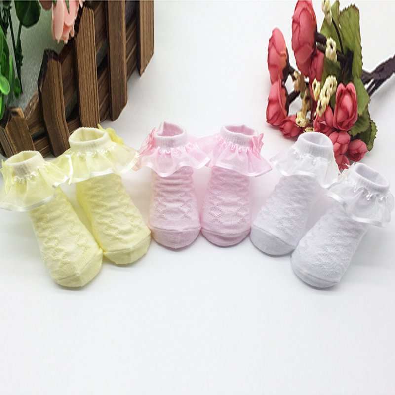 1 Pair Cute Toddlers Infants Cotton Ankle Socks Baby Girls Princess Socks Lace Floral Shoes For 0-6 Months