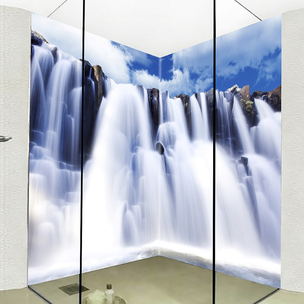 Custom Mural Wallpaper Corridor Bathroom Waterfall Backdrop 3D Waterproof Thickened Self-adhesive PVC Floor Sticker Wallpaper