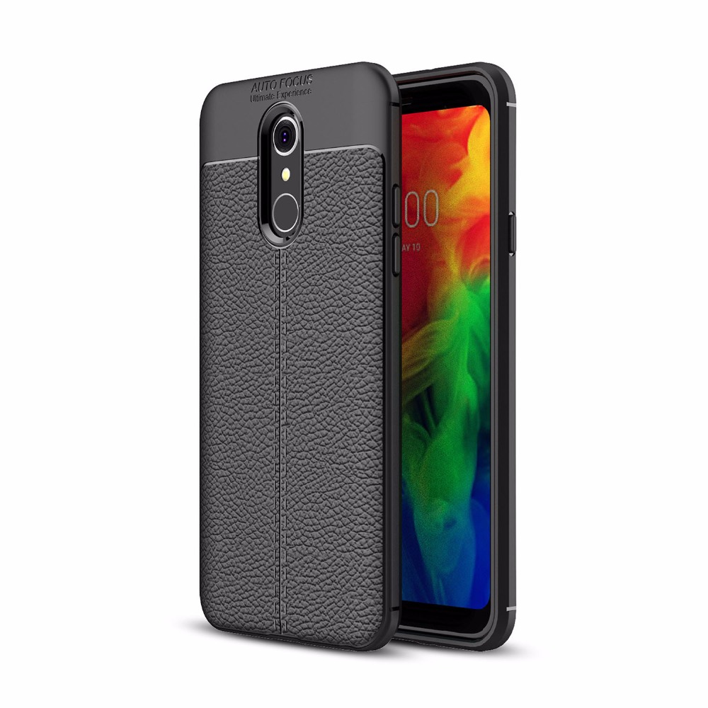 For LG Q7 Ultra Thin PU Leather Skin Case Flexible TPU Rubber Silicone Protective Case Cover for LG Q7 Plus Funda Cases bags