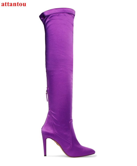 Elastic Purple Leather Woman Long Boots 2018 Autumn Winter Fashion Female Shoes Woman Over-the-knee Boots Pointed Toe Thin Heel цена 2017