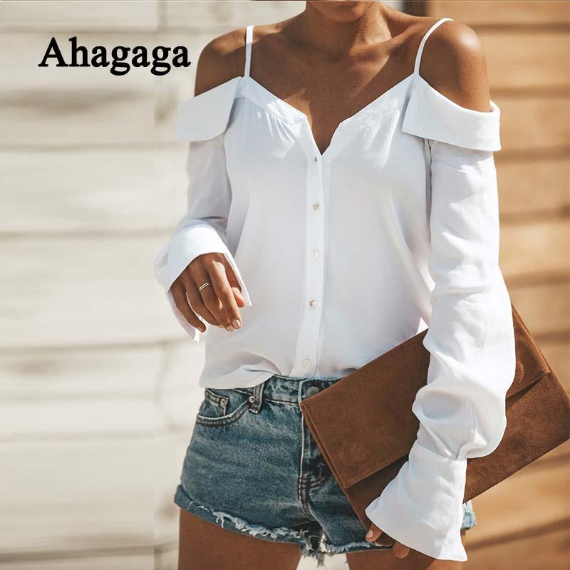 441d31da4899 2019 Осенняя Повседневная Блузка женские топы Модные однотонные белые  черные пуговицы Slash шеи обычный длинный рукав сексуальные женские блуз.