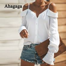 2019 Autumn Casual Blouse Women Tops Fashion Solid White Black Button Slash Neck Regular Long Sleeve Sexy Women Blouses Female