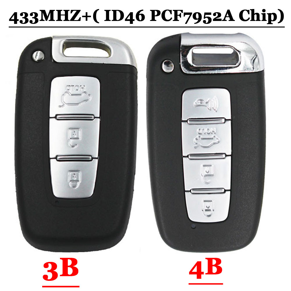 Floding Remote key Fob 3 Button 434MHz ID46 Chip for Hyundai New Santafe