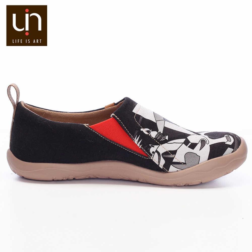 UIN Art malowane płótno buty dla mężczyzn w stylu casual, czarny Slip-on moda próżniak komfortowe buty do chodzenia lekkie i miękkie trampki