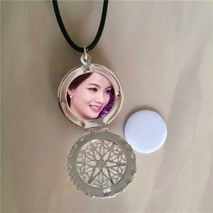 Image 1 - sublimation locket new round necklaces pendants blank thermal transfer printing women  necklace pendant consumables 15pcs/lot