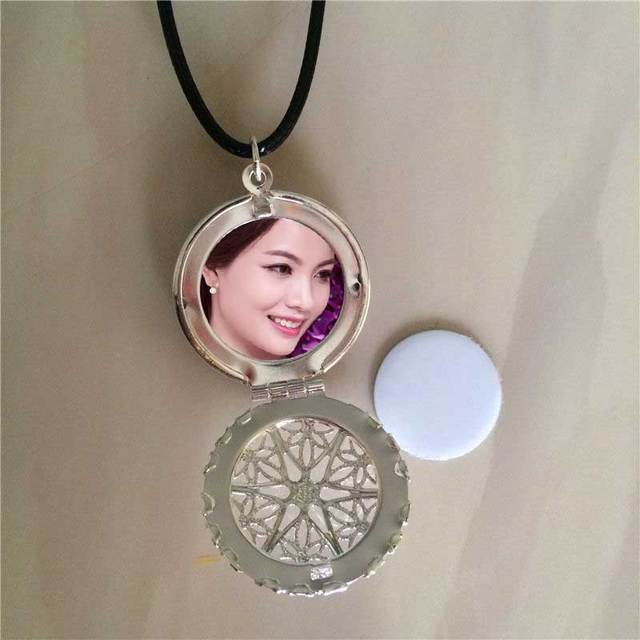 sublimation locket new round necklaces pendants blank thermal transfer printing women  necklace pendant consumables 15pcs/lot
