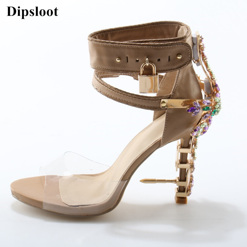 2017 Limited Edition High Heels Sandals Luxury Impera Women Sandals Peep Toe Rhinestone Lock Design Shoes Woman Free Shipping new mf8 eitan s star icosaix radiolarian puzzle magic cube black and primary limited edition very challenging welcome to buy