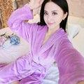 2016 Spring Autumn Winter Anti Cold & Stay Warm Flannel Women Robe Family Coral Fleece Bathrobe Lady Thermal Nightwear Size XXL