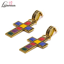 2019 Womens Vintage Gold Alloy Multicolor Cross Unique Drop Earrings Female Retro Famous Brand Pendant Brincos Jewelry Gift