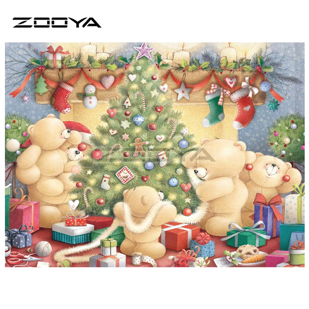 ZOOYA 5D DIY Diamond Embroidery Christmas Tree Bear Socks Gift Diamond Painting Cross St ...