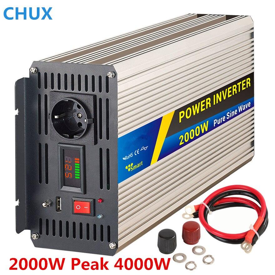 цена на Power Inverter 2000W peak 4000W Pure sine wave Switch Power supply dc to ac 12V 24V to 110 220V 50HZ off inverter