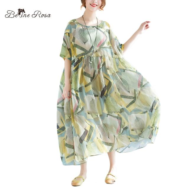 BelineRosa 2018 Women s Summer Dresses Holiday Casual Style Plus Size  Summer Clothes 2 pcs Printing Dress XMR00055 6d1c984e0f5b